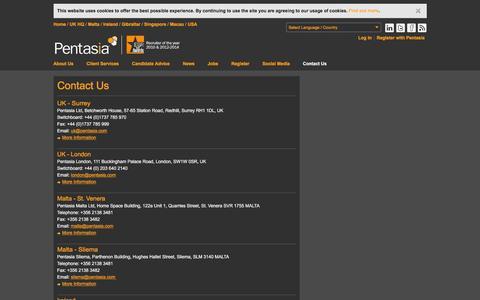 Screenshot of Contact Page pentasia.com - Contact Us | Pentasia Recruitment - captured Dec. 8, 2015