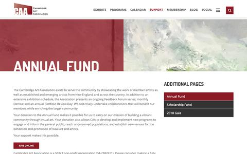 Screenshot of Support Page cambridgeart.org - Annual Fund – Cambridge Art Association - captured Sept. 26, 2018