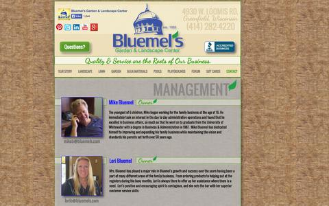 Screenshot of Team Page bluemels.com - Management - Meet or email Bluemel's management team! - captured Oct. 5, 2014