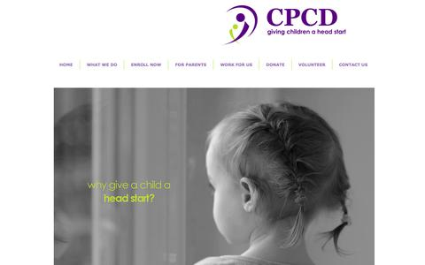 Screenshot of Home Page cpcdheadstart.org - CPCD Head Start Colorado Springs Colorado - captured Oct. 1, 2014
