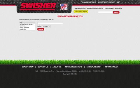 Screenshot of Locations Page swisherinc.com - Swisher - captured Oct. 6, 2014