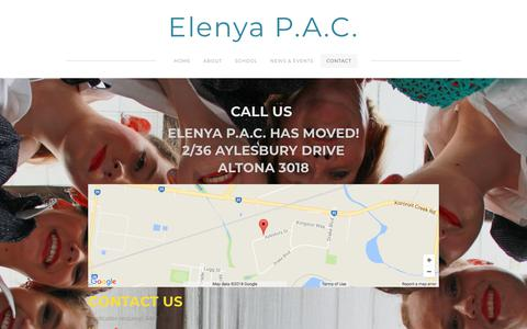 Screenshot of Contact Page weebly.com - Contact - Elenya P.A.C. - captured Jan. 25, 2018