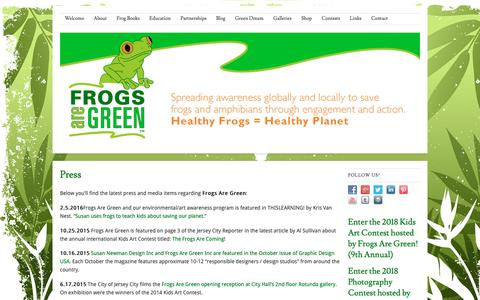 Screenshot of Press Page frogsaregreen.org - Press   Frogs Are Green - captured Nov. 6, 2018