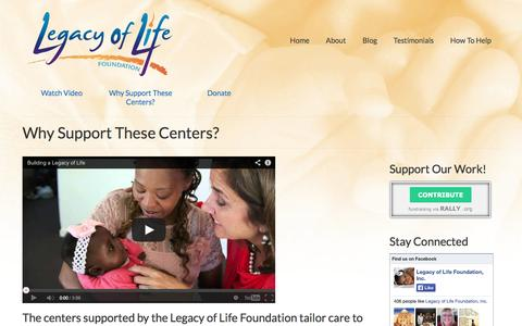 Screenshot of Services Page legacyoflifefoundation.org - Why Support These Centers? | Legacy of Life Foundation - captured Oct. 2, 2014
