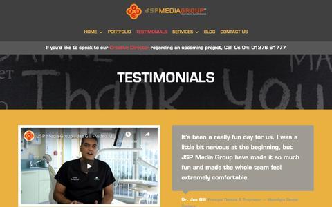 Screenshot of Testimonials Page jspmediagroup.com - TESTIMONIALS – JSP Media Group - captured Nov. 6, 2018