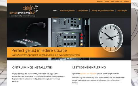 Screenshot of Home Page ontruimingen-klokken-versterkers.nl - Home - Swiss Systems B.V. - Specialist in 100 Volt installaties - captured Oct. 18, 2018