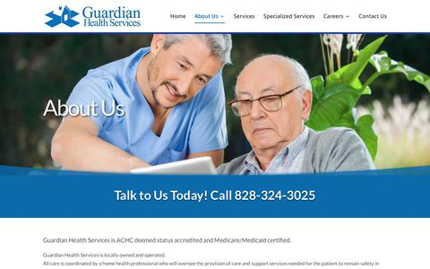Screenshot of About Page ghsnc.com - Local Home Health Agencies Hickory - Guardian Health Services - captured Sept. 30, 2018