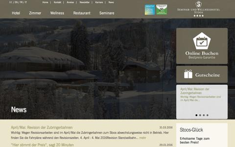 Screenshot of Press Page hotel-stoos.ch - Hotel Stoos - captured April 1, 2016