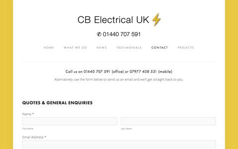 Screenshot of Contact Page electrifying.co - Contact — Electrician Haverhill, Suffolk | CB Electrical - captured Sept. 25, 2018