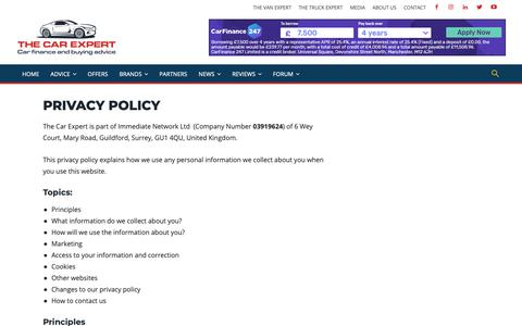 Screenshot of Privacy Page thecarexpert.co.uk - Privacy Policy | The Car Expert - captured April 23, 2019