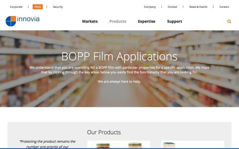 Screenshot of Products Page innoviafilms.com - Innovia Films - BOPP Films and Packaging Materials - captured Sept. 26, 2018
