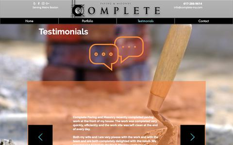 Screenshot of Testimonials Page complete-ma.com - Complete | Testimonials - captured Sept. 29, 2018