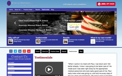 Screenshot of Testimonials Page jensenlawyers.com - Testimonials | Jensen & Associates Personal Injury Lawyer Orange County - captured Oct. 27, 2014