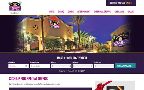 Screenshot of Signup Page seminoleimmokaleecasino.com - Sign Up for Special Offers |  Seminole Casino Hotel Immokalee - captured Jan. 19, 2016