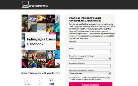 Screenshot of Landing Page indiegogo.com - Cause Handbook: For Successful Cause Crowdfunding Projects | Indiegogo - captured Oct. 27, 2014
