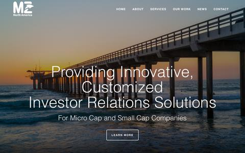 Screenshot of Home Page mzgroup.us - MZ Group North America | Global Reach, Local Service Investor Relations – MZ North America is the US division of MZ Group, a multinational company and the world's largest independent investor relations and corporate communications firm. - captured Sept. 30, 2018