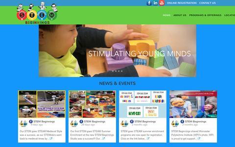 Screenshot of Home Page stembeginnings.com - Stem Beginnings | - captured July 21, 2016
