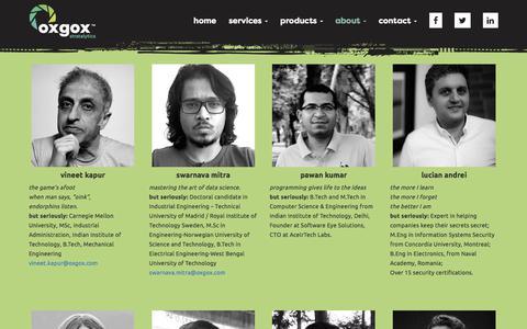 Screenshot of About Page oxgox.com - » Team - captured Oct. 18, 2017