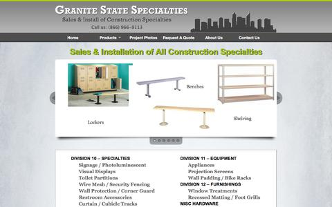 Screenshot of Menu Page granitestatespecialties.com - Granite State Specialties | Sales and Install of Construction Specialties - captured Nov. 2, 2014