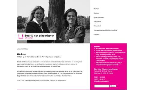 Screenshot of Home Page bvs-advocaten.nl - Boer en Van Schoonhoven advocaten - captured Oct. 5, 2014