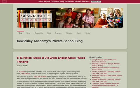 Screenshot of Blog sewickley.org - Pittsburgh Private Schools | Sewickley Academy - captured Nov. 4, 2014