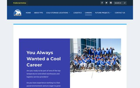Screenshot of Jobs Page preferredfreezer.com - Careers | Preferred Freezer Services - captured March 11, 2019