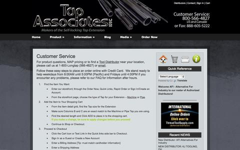 Screenshot of Support Page tapextension.com - Customer Service FAQ   Tap Extensions for machine and pipe - captured Oct. 7, 2014