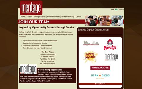 Screenshot of Jobs Page meritagehospitality.com - Join our Team - A New Approach to Hospitality - Meritage Hospitality Group - captured Nov. 15, 2018