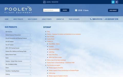 Screenshot of Site Map Page pooleys.com - Sitemap | Pooleys Flying and Navigational Products and Accessories - captured Nov. 8, 2016