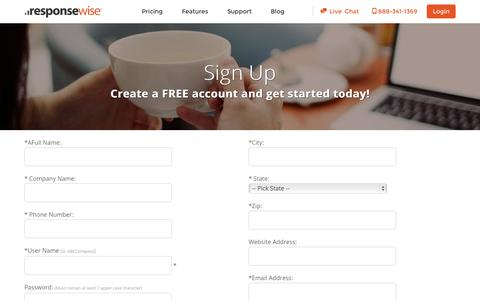 Screenshot of Signup Page responsewise.com - Sign Up - Response Wise, Inc. - captured Sept. 23, 2014