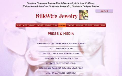 Screenshot of Press Page silkwirejewelry.com - SilkWire Jewelry Press - captured May 27, 2017