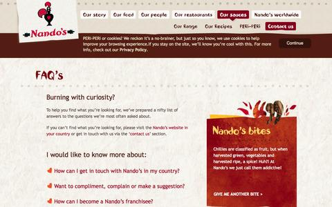 Screenshot of FAQ Page nandos.com - Nando's.com - FAQs and Contact Us - captured Oct. 27, 2014