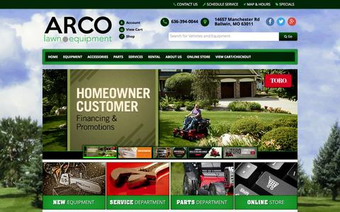 Screenshot of Home Page arcolawn.com - ARCO Lawn Equipment - Sales, Parts, Service, Rental - Ballwin, MO ARCO Lawn Equipment Ballwin, MO 636-394-0044 - captured Feb. 6, 2016