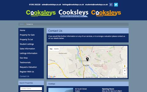 Screenshot of Contact Page cooksleys.co.uk - Contact Us | Cooksleys Estate Agents in Exeter, Devon - captured July 16, 2016
