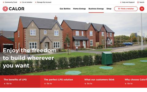 Screenshot of Developers Page calor.co.uk - LPG Energy Solution For Rural Housing Developments - captured Feb. 16, 2019