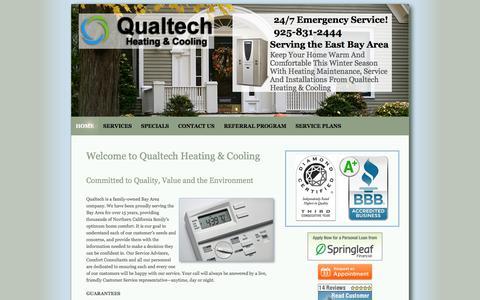 Screenshot of Home Page qualtechhvac.com - HVAC Service Bay Area | HVAC Danville | Qualtech Heating And Cooling - captured Oct. 10, 2014