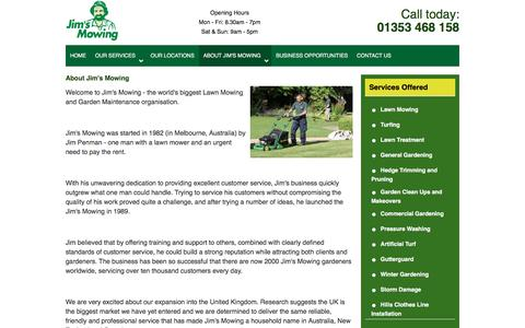 Screenshot of jimsmowing.co.uk - About Jim's Mowing – Garden Cleanups, Lawn Mowing Services - Jim's Mowing UK - captured May 27, 2017