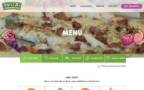 Screenshot of Menu Page stevibs.com - Menu - Stevi B's Pizza Buffet - captured Oct. 25, 2017