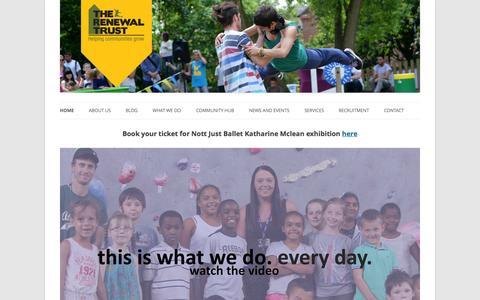 Screenshot of Home Page renewaltrust.co.uk - The Renewal Trust - captured Oct. 6, 2014