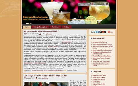 Screenshot of Blog servingalcohol.com - ServingAlcohol.com - News for bartenders, waiters, waitresses, managers, owners and other people serving alcohol. - captured Dec. 12, 2016