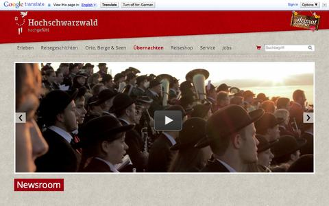 Screenshot of Press Page hochschwarzwald.de - Newsroom | Hochschwarzwald Tourismus GmbH - captured Sept. 22, 2014