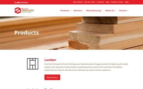 Screenshot of Products Page zeelandlumber.com - Home Improvement Products - Zeeland Lumber & Supply - captured Nov. 12, 2019