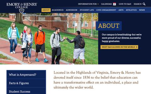 Screenshot of About Page ehc.edu - About  • Emory & Henry - captured Sept. 28, 2018