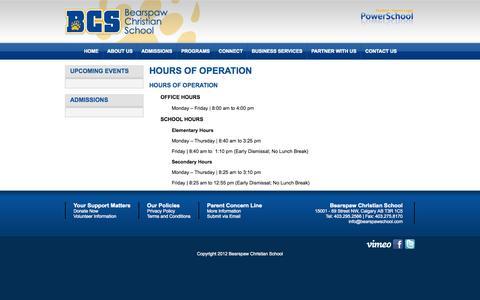 Screenshot of Hours Page bearspawschool.com - Hours of Operation   Bearspaw Christian School - captured Oct. 5, 2014