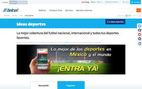 Screenshot of telcel.com - Ideas deporte - experiencia deportiva sin igual | Telcel - captured July 13, 2017