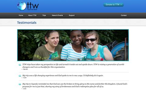Screenshot of Testimonials Page touchtheworld.org captured Oct. 7, 2014
