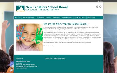Screenshot of About Page nfsb.qc.ca - New Frontiers School Board  » About Us - captured May 22, 2016