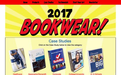 Screenshot of Case Studies Page bookwear.com - Case Studies | Marketing, PR, Fundraising, Recruiting Giveaways - captured April 9, 2017