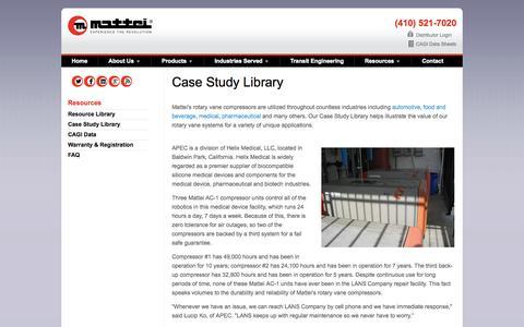Screenshot of Case Studies Page matteicomp.com - Case Studies - Mattei - captured Nov. 18, 2015