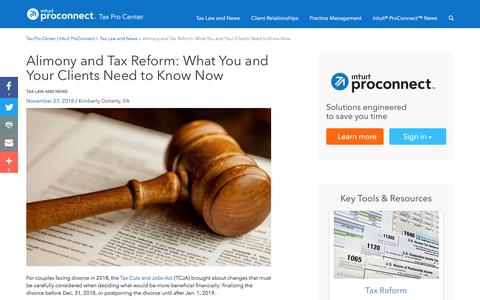 Screenshot of Press Page intuit.com - Alimony and Tax Reform: What You and Your Clients Need to Know Now | Tax Pro Center | Intuit ProConnect - captured Nov. 21, 2019